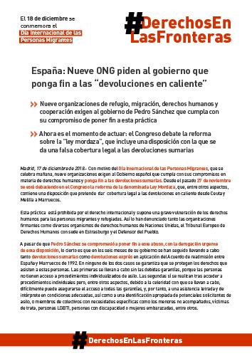 Día internacional Personas Migrantes Manifiesto